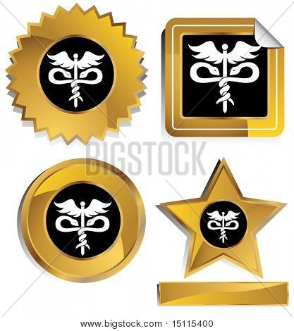 medical symbol gold window