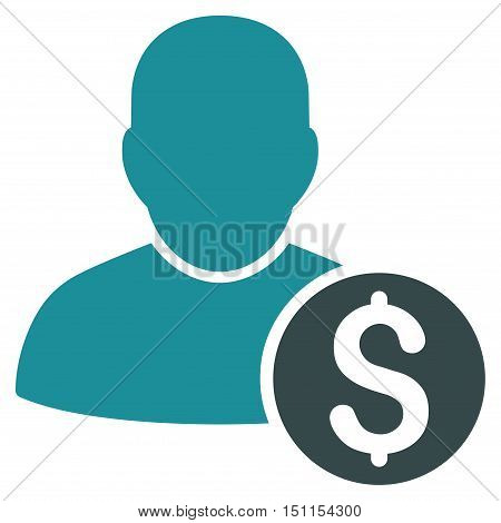 Businessman icon. Glyph style is bicolor flat iconic symbol with rounded angles, soft blue colors, white background.