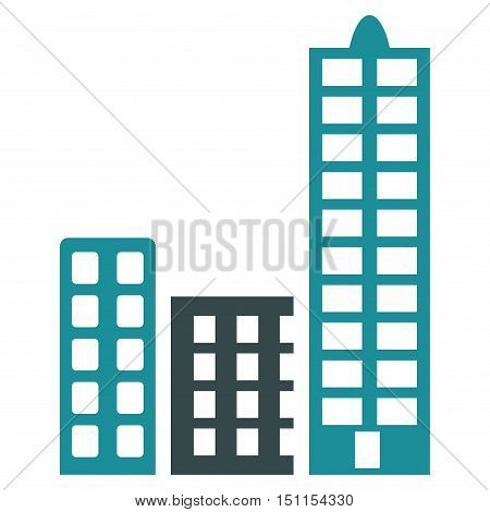 City icon. Glyph style is bicolor flat iconic symbol with rounded angles, soft blue colors, white background.