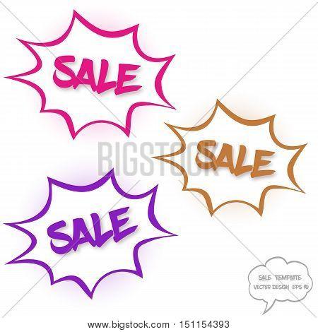 Vector Big sale concept. Set of comics bubbles with sale text. Comics bubbles on white background. Sale text with shadow. Various colors.