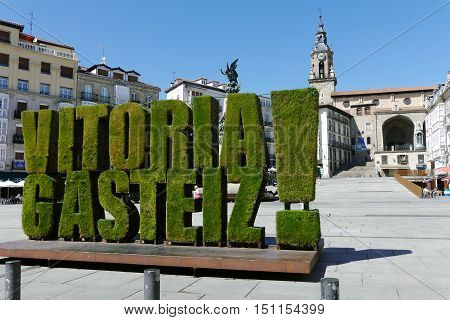 VITORIA-GASTEIZ, SPAIN - JULY 24: A view of Virgen Blanca square. July 24, 2016 in Vitoria Gasteiz, Basque Country, Spain