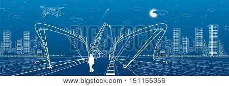 Two сargo ships loading, boats on the water, sea harbor, airplane fly, transportation illustration, people people go on the pier, vector design art