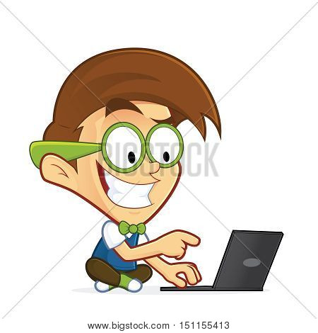 Clipart picture of a nerd geek cartoon character with his laptop