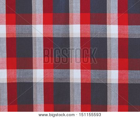 Check fabric background.Red,white,grey and blue colors.Linen texture