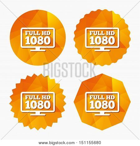 Full hd widescreen tv sign icon. 1080p symbol. Triangular low poly buttons with flat icon. Vector