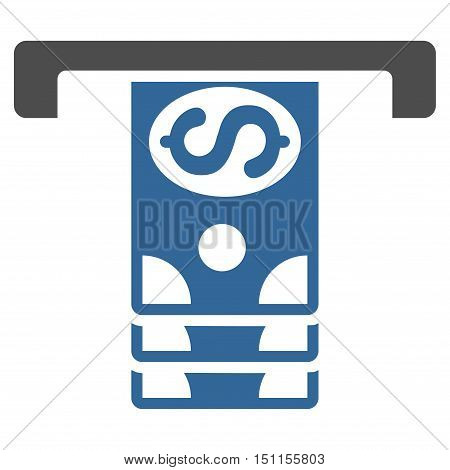 Banknotes Withdraw icon. Glyph style is bicolor flat iconic symbol with rounded angles, cobalt and gray colors, white background.