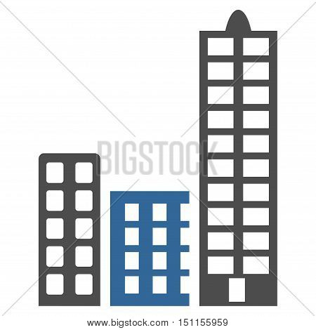 City icon. Glyph style is bicolor flat iconic symbol with rounded angles, cobalt and gray colors, white background.