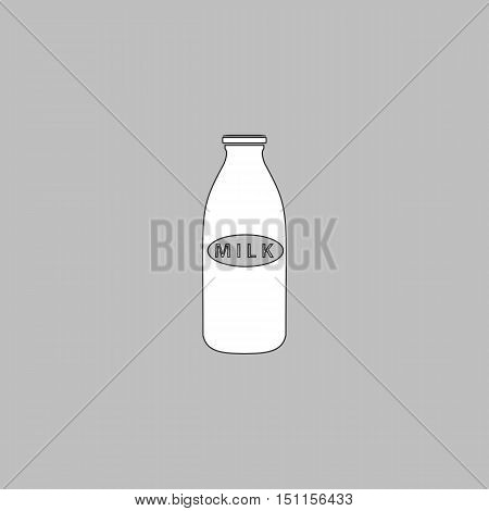 Milk bottle Simple line vector button. Thin line illustration icon. White outline symbol on grey background