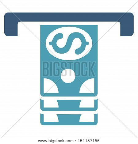 Banknotes Withdraw icon. Glyph style is bicolor flat iconic symbol with rounded angles cyan and blue colors white background.