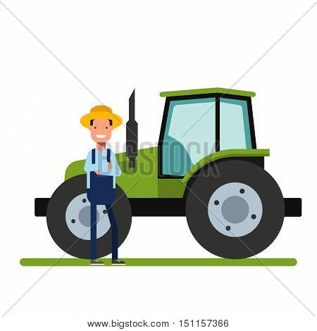Happy Farmer standing next to the new tractor. Machinery for agriculture. The worker on the plantations or in the garden. A man in a straw hat. Heavy Equipment. Flat vector illustration