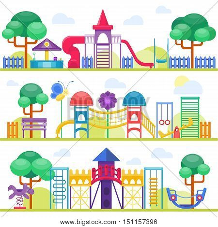 Children playground fun childhood play park activity flat vector illustration. Happy children playground activity and outdoor summer children playground place. Children summer playground equipment.