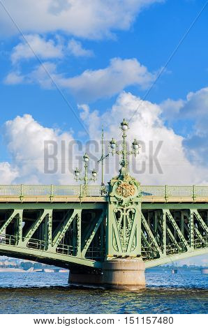 Trinity Bridge - bascule bridge across the Neva in Saint Petersburg Russia closeup of details. It was the third permanent bridge in Saint Petersburg across the Neva built between 1897 and 1903