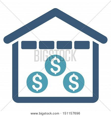 Money Depository icon. Glyph style is bicolor flat iconic symbol with rounded angles, cyan and blue colors, white background.