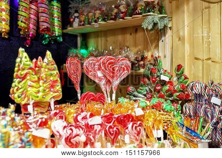 Stall With Colorful Candies In Vilnius Christmas Market