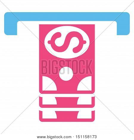 Banknotes Withdraw icon. Glyph style is bicolor flat iconic symbol with rounded angles, pink and blue colors, white background.
