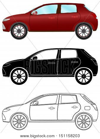 Modern hatchback car in three different types: colored black silhouette contour. Vector illustration