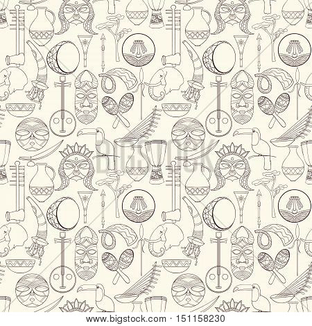 Hand-drawn seamless african pattern. Vector illustration. Sketch elements of drum, sharers, horn, vase, plate, spear