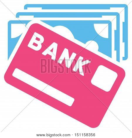Credit Money icon. Glyph style is bicolor flat iconic symbol with rounded angles, pink and blue colors, white background.