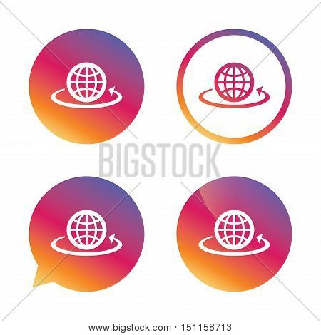 Globe sign icon. Round the world arrow symbol. Full rotation. Gradient buttons with flat icon. Speech bubble sign. Vector