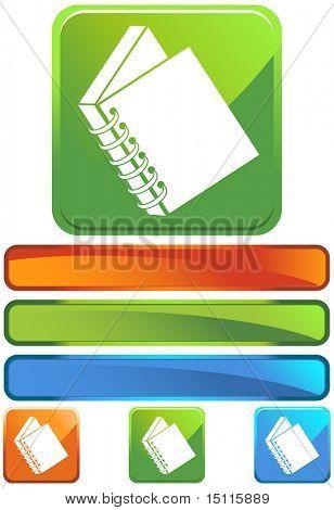 spiral bound book icon square glossy