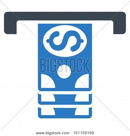 Banknotes Withdraw icon. Glyph style is bicolor flat iconic symbol with rounded angles, smooth blue colors, white background.
