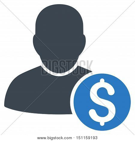 Businessman icon. Glyph style is bicolor flat iconic symbol with rounded angles, smooth blue colors, white background.