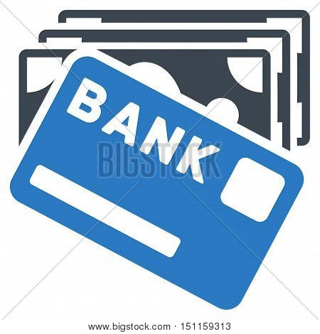 Credit Money icon. Glyph style is bicolor flat iconic symbol with rounded angles, smooth blue colors, white background.