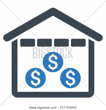 Money Depository icon. Glyph style is bicolor flat iconic symbol with rounded angles, smooth blue colors, white background.