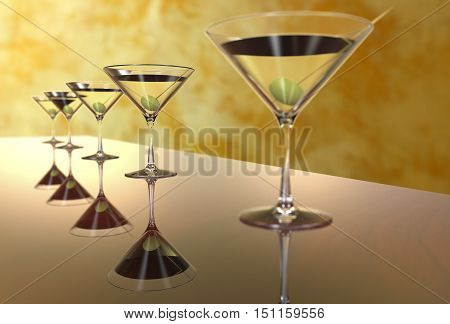 Martini Glasses on a colored background 3D render