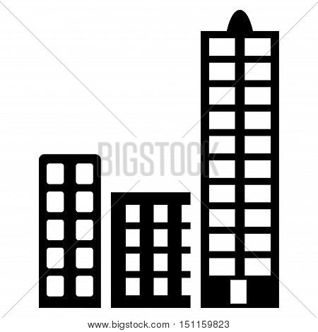 City icon. Glyph style is flat iconic symbol with rounded angles, black color, white background.