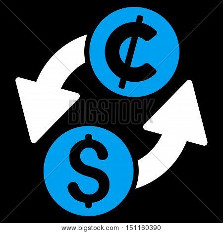 Dollar Cent Exchange icon. Glyph style is bicolor flat iconic symbol with rounded angles, blue and white colors, black background.