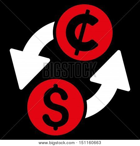 Dollar Cent Exchange icon. Glyph style is bicolor flat iconic symbol with rounded angles red and white colors black background.