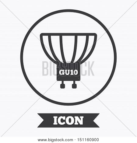Light bulb icon. Lamp GU10 socket symbol. Led or halogen light sign. Graphic design element. Flat symbol in circle button. Vector