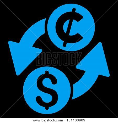 Dollar Cent Exchange icon. Glyph style is flat iconic symbol with rounded angles, blue color, black background.