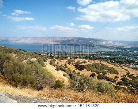 The Lake Kinneret against the background of the Golan Heights in Galilee Israel October 23 2010