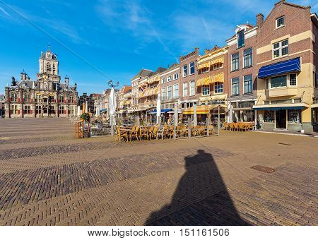 Council Building And Central Square In Delft, Netherlands
