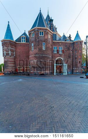 The Waag (weigh House) After Sunset, Amsterdam, Netherlands