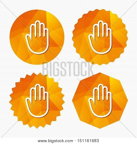 Hand sign icon. No Entry or stop symbol. Give me five. Triangular low poly buttons with flat icon. Vector