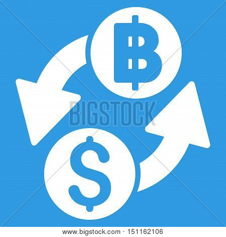 Dollar Baht Exchange icon. Glyph style is flat iconic symbol with rounded angles, white color, blue background.