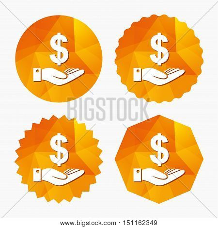 Dollar and hand sign icon. Palm holds money USD currency symbol. Triangular low poly buttons with flat icon. Vector