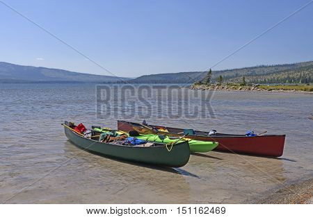 Canoes on a Lewis Lake in Yellowstone National Park in Wyoming