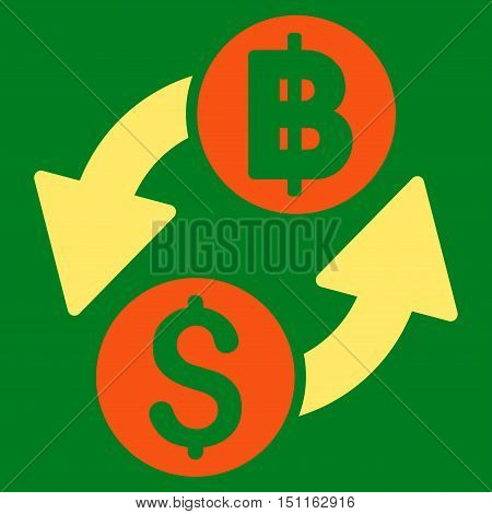 Dollar Baht Exchange icon. Glyph style is bicolor flat iconic symbol with rounded angles, orange and yellow colors, green background.