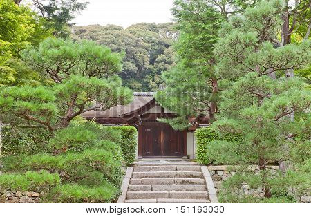 KYOTO JAPAN - JULY 25 2016: Entrance to abbot quarters (Hojo) of Ryogin-an sub-temple in Tofuku-ji Temple in Kyoto. Hojo is a National Treasure of Japan