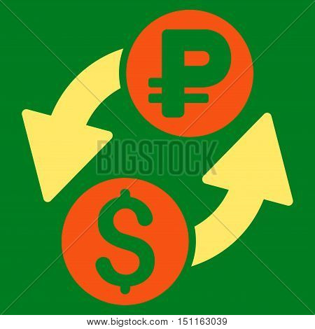 Dollar Rouble Exchange icon. Glyph style is bicolor flat iconic symbol with rounded angles, orange and yellow colors, green background.