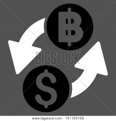 Dollar Baht Exchange icon. Glyph style is bicolor flat iconic symbol with rounded angles, black and white colors, gray background.