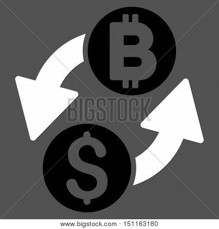 Dollar Bitcoin Exchange icon. Glyph style is bicolor flat iconic symbol with rounded angles, black and white colors, gray background.