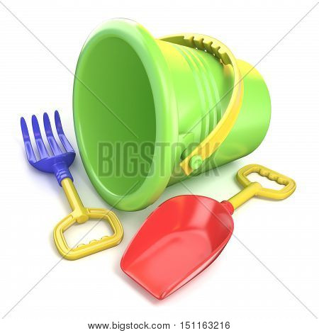 Toy bucket rake and spade. 3D render illustration isolated on white background