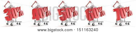 30% 40% 50% 60% 70% percent discount in front of shopping cart. Sale concept. 3D render illustration isolated on white background