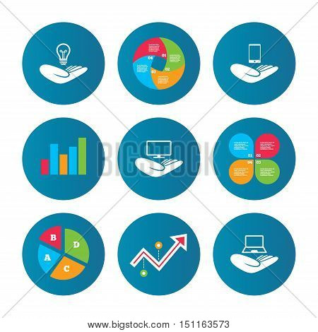 Business pie chart. Growth curve. Presentation buttons. Helping hands icons. Intellectual property insurance symbol. Smartphone, TV monitor and pc notebook sign. Device protection. Data analysis