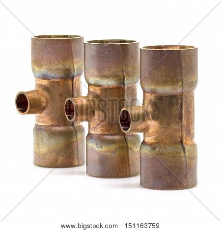 T-joint Connection Pipe Of Air-conditioner Or Refrigerant System, Bfore Bazing Or Welding For Design